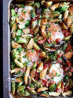 Recette Choux de Bruxelles, oeufs et bacon (one pan)