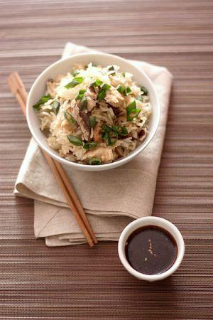 Recette {Cuisine vapeur} Riz thaï au poulet mariné et shiitaké
