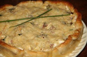Recette Quiche aux pommes de terre, oignon, brie et lardons