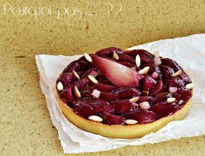 Recette Tarte poires au vin / amandes