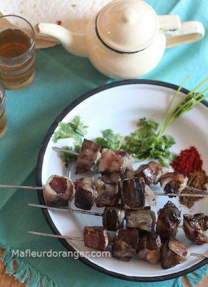 Recette Boulfaf : Brochettes de foie à la crépine de mouton