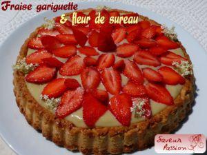 Recette Tarte sablée aux fraises gariguettes, crème pâtissière fleur de sureau