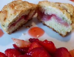 Recette Muffins fraise pistache et sa salade de fraises