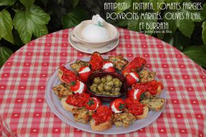 Recette Antipasti : Frittata, tomates farcies, poivrons marinés, olives à l'ail et  burrata - Italie les Pouilles (6) Nardo
