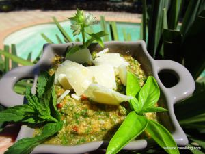 Recette Pesto rosso basilic/ menthe