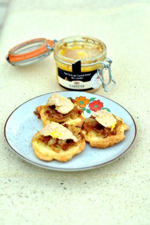 Recette Tartelettes tatin aux oignons et au foie gras