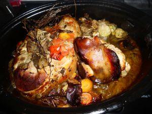 Recette Rouelle et jarret de porc au cidre et aux petits légumes