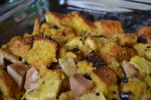 Recette Bread pudding pommes/poires et chocolat