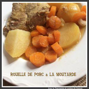 Recette Rouelle de porc pommes de terre carottes à la moutarde au cookeo ou Cocotte minute
