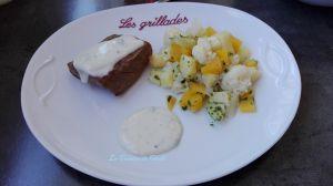 Recette Pavé de boeuf sauce roquefort et légumes de saison à l'huile d'olive à la  truffe