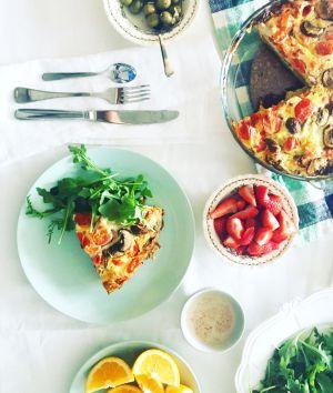 Recette Frittata au saumon fumé, tomates & champignons