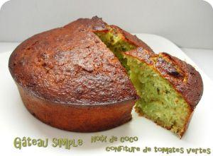Recette Gâteau simple, noix de coco et confiture de tomates vertes