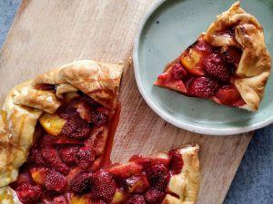 Recette Tarte rustique fraises et nectarines