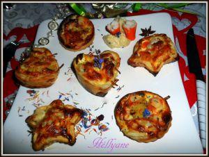 Recette Tartelettes feuilletées, mini bouchées, mini quiches aux poireaux -surimi