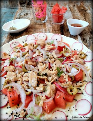 Recette Salade de pastèque et thon/ ensalada de sandia y atun