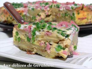 Recette Frittata aux pommes de terre, jambon et petits pois