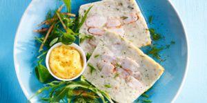 Recette Terrine de Cabillaud et Crevettes Roses - Sauce Mousseline au Curry