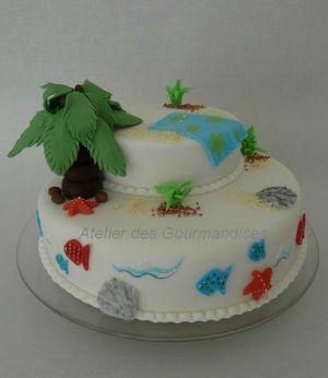 """Recette Gâteau """"plage"""" en pâte à sucre"""