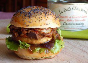 Recette Burger à l'Emietté de canard, pomme rôtie et chutney de figues