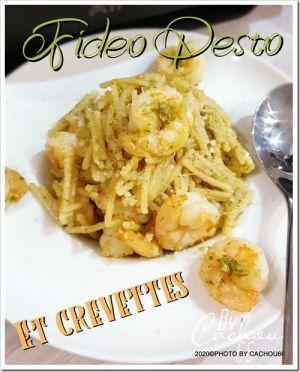 Recette Fideo pesto et crevettes(Grill All-Clad)