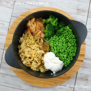 Recette One pot pasta au poulet et légumes verts