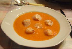 Recette Coquilles St Jacques sur velouté de carottes et lentilles corail au cumin (ig bas)
