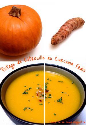 Recette Soupe: le Potage de Citrouille au Curcuma frais et au Cari