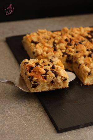 Recette Crumbeau : Gâteau crumble aux pommes & chocolat