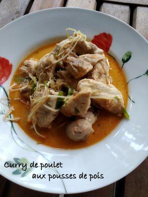 Recette Curry de poulet aux pousses de pois