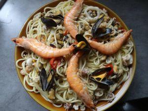 Recette Spaghettis à l?ail et aux fruits de mer