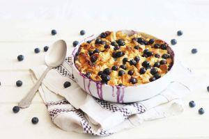 Recette Bread pudding aux myrtilles