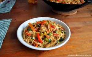 Recette Wok de légumes, pâtes et poulet - La cuisine de jean christophe