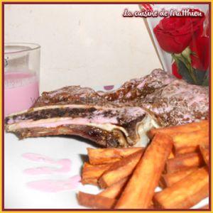 Recette Cote de boeuf avec frite de patate douce
