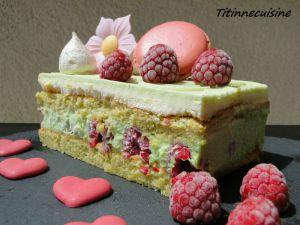 Recette Entremet pistache et framboises