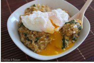 Recette Porridge salé potiron, épinards et oeuf poché