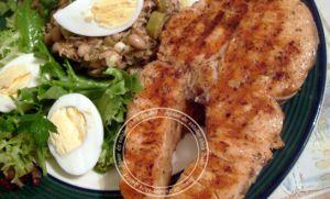Recette Saumon grillé a la plancha et Salade haricots oeil noir