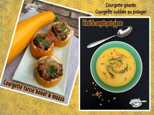 Recette Idée pour cuisiner les courgettes oubliées du jardin (courgette géante) ....courgette farcie au boeuf & velouté de courgettes