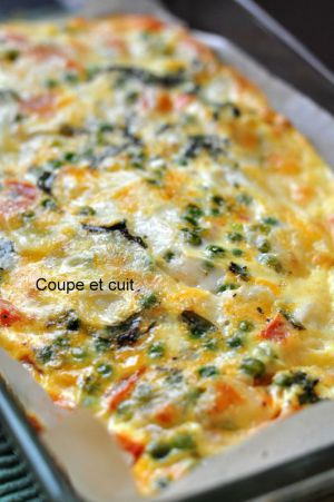 Recette Frittata aux petits pois, menthe, tomates et mozzarella
