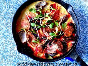 Recette Frittata aux betteraves, oignons rouges et chèvre végétal
