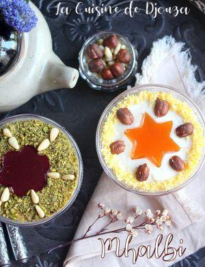 Recette Mhalbi algerien, creme dessert à la farine de riz