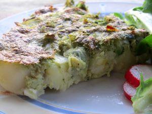 Recette Frittata du frigo, pour dépanner (pommes de terre, oignons, courgettes)