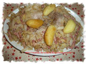 Recette Choux braisé aux lardons et rouelle de jambon
