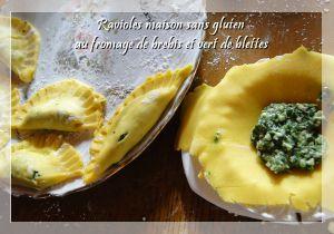 Recette Ravioles au fromage de brebis et vert de blettes (ou épinard) sans gluten