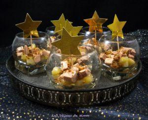 Recette Verrines de foie gras aux poires caramélisées