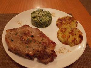 Recette Cote de porc avec son risotto et plenze