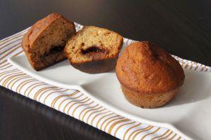 Recette Muffins à la banane et à la pâte à tartiner au chocolat