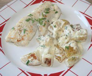 Recette Dos de merlu (colin) et pomme de terre à la crème