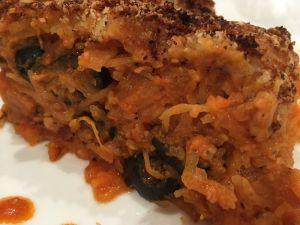 Recette Gratin de courge spaghetti, chorizo et olives