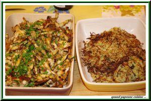 Recette Cuisses de grenouilles, râpes de pommes de terre maison et salade de pissenlits