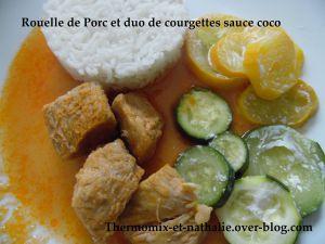 Recette Rouelle de Porc et duo de courgettes sauce coco
